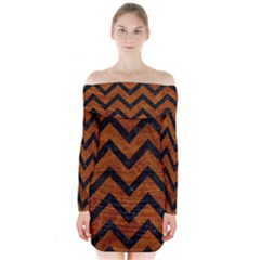 Chevron9 Black Marble & Brown Marble (r) Long Sleeve Off Shoulder Dress