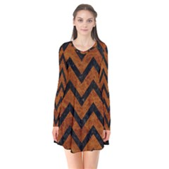 Chevron9 Black Marble & Brown Marble (r) Long Sleeve V Neck Flare Dress