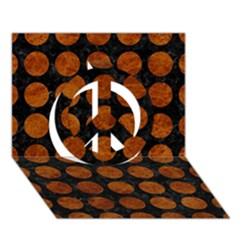 Circles1 Black Marble & Brown Marble Peace Sign 3d Greeting Card (7x5)