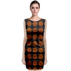Circles1 Black Marble & Brown Marble Classic Sleeveless Midi Dress