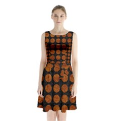 Circles1 Black Marble & Brown Marble Sleeveless Waist Tie Chiffon Dress