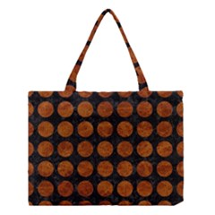 Circles1 Black Marble & Brown Marble Medium Tote Bag