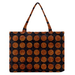 Circles1 Black Marble & Brown Marble Medium Zipper Tote Bag