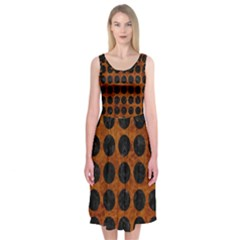 Circles1 Black Marble & Brown Marble (r) Midi Sleeveless Dress