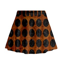 Circles1 Black Marble & Brown Marble (r) Mini Flare Skirt