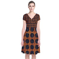 Circles1 Black Marble & Brown Marble (r) Short Sleeve Front Wrap Dress