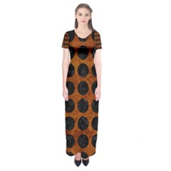 Circles1 Black Marble & Brown Marble (r) Short Sleeve Maxi Dress