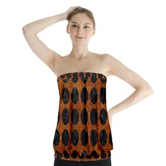 Circles1 Black Marble & Brown Marble (r) Strapless Top