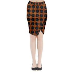 Circles1 Black Marble & Brown Marble (r) Midi Wrap Pencil Skirt