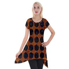 Circles1 Black Marble & Brown Marble (r) Short Sleeve Side Drop Tunic