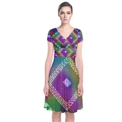 Embroidered Fabric Pattern Short Sleeve Front Wrap Dress