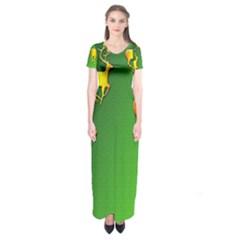 Gold Reindeer Short Sleeve Maxi Dress