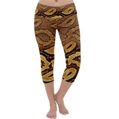 Golden Patterned Paper Capri Yoga Leggings