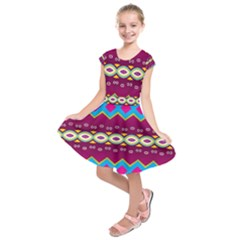 Rhombus And Ovals Chains               Kids  Short Sleeve Dress