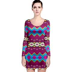 Rhombus and ovals chains                                                                                                               Long Sleeve Bodycon Dress