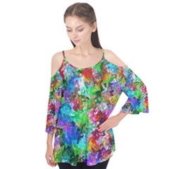 Colorful Strokes                            Flutter Sleeve Tee