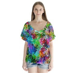 Colorful Strokes                   V Neck Flutter Sleeve Top