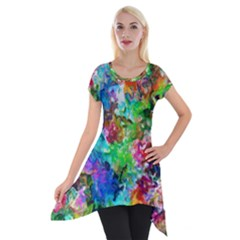 Colorful Strokes                                                                                                                Short Sleeve Side Drop Tunic