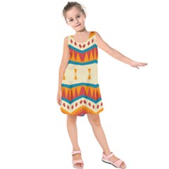 Mirrored Shapes In Retro Colors                    Kid s Sleeveless Dress