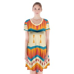 Mirrored shapes in retro colors                         Short Sleeve V-neck Flare Dress
