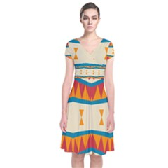 Mirrored Shapes In Retro Colors                                                                                Short Sleeve Front Wrap Dress