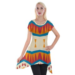 Mirrored Shapes In Retro Colors                                                                                                                 Short Sleeve Side Drop Tunic