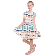 Shapes And Waves                  Kids  Short Sleeve Dress