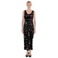 Christmas Decorative Pattern Vector Fitted Maxi Dress
