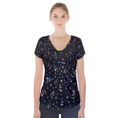 Christmas Decorative Pattern Vector Short Sleeve Front Detail Top