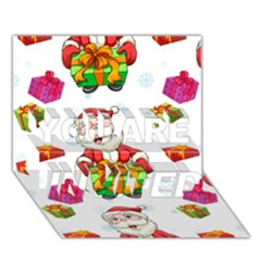 Xmas Patterns  You Are Invited 3d Greeting Card (7x5)
