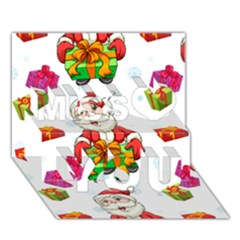 Xmas Patterns  Miss You 3d Greeting Card (7x5)