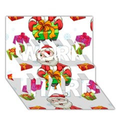 Xmas Patterns  Work Hard 3d Greeting Card (7x5)