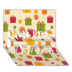 Christmas Gift Box Vector Seamless Pattern Vector YOU ARE INVITED 3D Greeting Card (7x5)