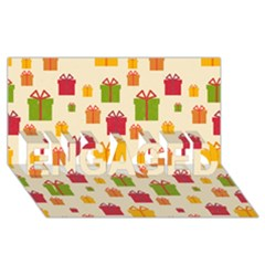 Christmas Gift Box Vector Seamless Pattern Vector ENGAGED 3D Greeting Card (8x4)