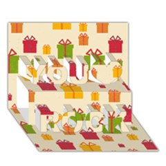 Christmas Gift Box Vector Seamless Pattern Vector You Rock 3d Greeting Card (7x5)