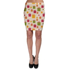 Christmas Gift Box Vector Seamless Pattern Vector Bodycon Skirt