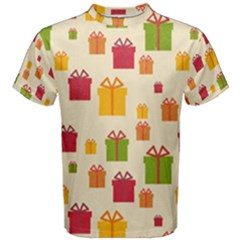 Christmas Gift Box Vector Seamless Pattern Vector Men s Cotton Tee