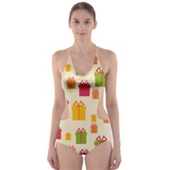 Christmas Gift Box Vector Seamless Pattern Vector Cut Out One Piece Swimsuit