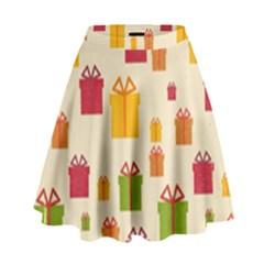 Christmas Gift Box Vector Seamless Pattern Vector High Waist Skirt