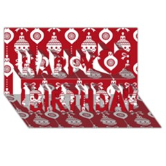 Abstract Christmas Seamless Background Vector Graphic Happy Birthday 3d Greeting Card (8x4)