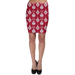 Abstract Christmas Seamless Background Vector Graphic Bodycon Skirt