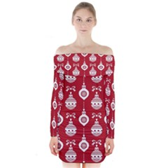 Abstract Christmas Seamless Background Vector Graphic Long Sleeve Off Shoulder Dress