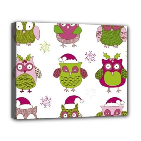 Cartoon Christmas Owl Cute Vector Deluxe Canvas 20  X 16