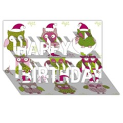 Cartoon Christmas Owl Cute Vector Happy Birthday 3D Greeting Card (8x4)