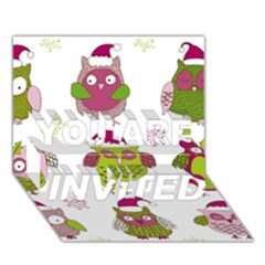 Cartoon Christmas Owl Cute Vector You Are Invited 3d Greeting Card (7x5)