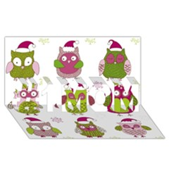 Cartoon Christmas Owl Cute Vector #1 Mom 3d Greeting Cards (8x4)