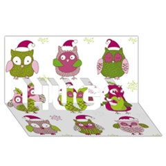 Cartoon Christmas Owl Cute Vector Hugs 3d Greeting Card (8x4)