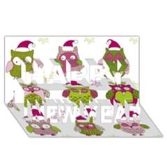 Cartoon Christmas Owl Cute Vector Happy New Year 3d Greeting Card (8x4)