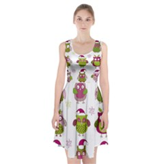 Cartoon Christmas Owl Cute Vector Racerback Midi Dress