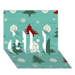 Christmas Tree With Snow Seamless Pattern Vector Girl 3d Greeting Card (7x5)